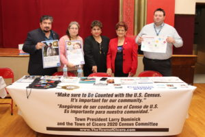 Cicero Census Committee members including TOC Clerk Punzo-Arias, District 99 Special Projects and Grant Director Anthony Grazzini, Morton High school District 201 Board Secretary Jessica Jaramillo-Flores, Frank Aguilar of the Cicero Mexican Cultural Committee, and Blanca Vargas Democratic Committeewoman and LULAC member hosted the Cicero 2020 Census Information Table at the event speaking with residents and distributing literature to encourage a Complete Count.