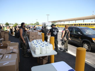 Volunteers distribute food to needy families at Unity Junior High school Thursday June 25, 2020. Photo courtesy of the Town of Cicero